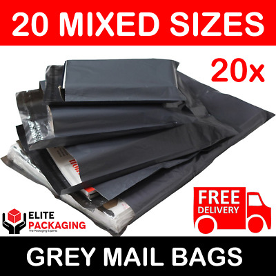 20 Large Mixed Grey Mailing Postal Bags 56mu - 5 Each Of 13x19 14x16 16x21 17x24