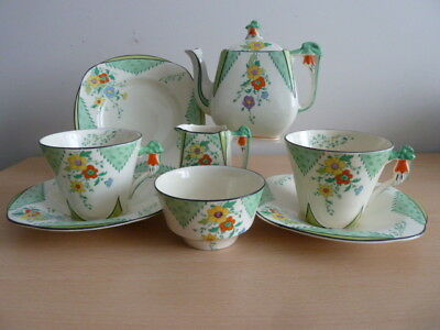 Pretty Art Deco Burleigh Ware Tea For Two - Maytime