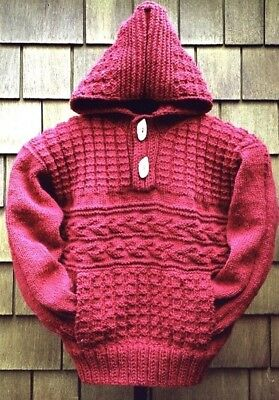 "Aran Textured Hooded Jacket Man/Woman 30"" - 42""  Knitting Pattern"