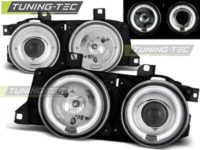 Coppia Fari Anteriori Bmw E32/e34 Angel Eyes Chrome Look*2043