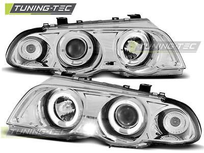 Coppia Fari Anteriori Bmw E46 05.98-08.01 Angel Eyes Chrome Look*2057