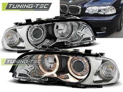Coppia Fari Anteriori Bmw E46 04.99-08.01 Coupe Cabrio Angel Eyes Chrome Look*20