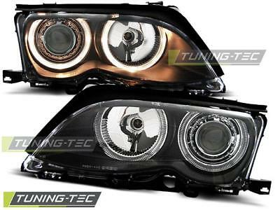 Coppia Fari Anteriori Bmw E46 09.01-03.05 Angel Eyes Black Look*2119