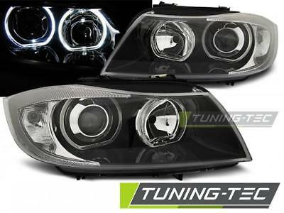 Coppia Fari Anteriori Bmw E90/e91 03.05-08.08 Led Angel Eyes Black Look*2322