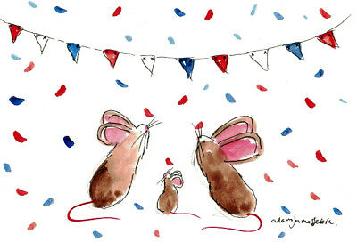 Original Water Colour Painting & Ink Drawing. The New Royal Arrival Mice