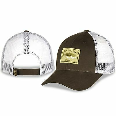GILLS N GAME BASS FISHING LUNKER PATCH PRAIRIE DUST AND WHITE MESH HAT