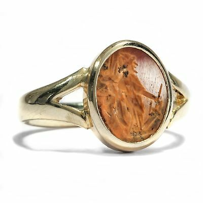 Gold Ring with Roman Agate Gem : Fortuna Siegelstein Cameo Gold 585 Intaglio