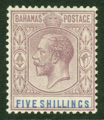 SG 88 Bahamas 1912-19. 5/- dull purple & blue. Very lightly mounted mint...