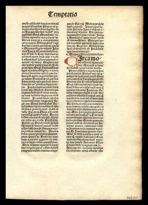 1481 Incunable Leaf  Mysterious Theologian Nicolaus de Byard Original  Dominican