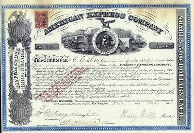 The American Express Company - Stock Certificate Signed 05/01/1866
