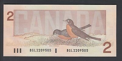 1986 $2 Dollars UNC - Thiessen Crow - Prefix BGL - Bank of Canada - B941