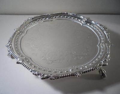 An Ornate Antique Silver Salver / Waiter w. Ball & Claw Feet: London 1902