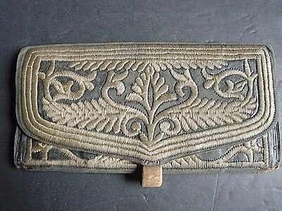 Antique Bullion Worked Embroidered Gentleman's Leather Pocketbook Wallet