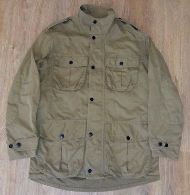 Barbour very rare mens Washed Twill Trooper beige jacket size L