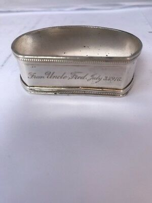 PRETTY and Highly DECORATVE Antique Solid Sterling SILVER Napkin Ring 20 Grams