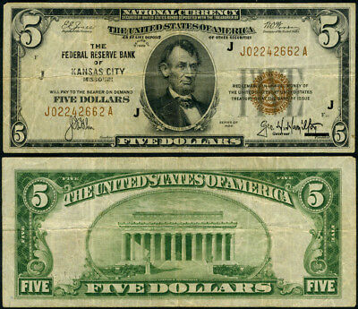 FR. 1850 J $5 1929 Federal Reserve Bank Note Kansas City J-A Block F Brown Seal