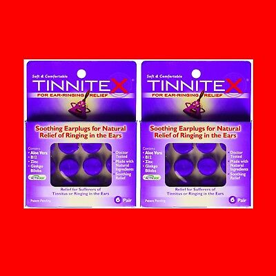 2 Tinnitex Earplugs Natural lipo vibes Tinnitus Relief Ringing in the Ear 6 Pair