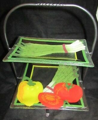 PEGGY KARR FUSED ART GLASS PLATES W/ 2 Tier STAND Vegetable Tray asparagus Etc
