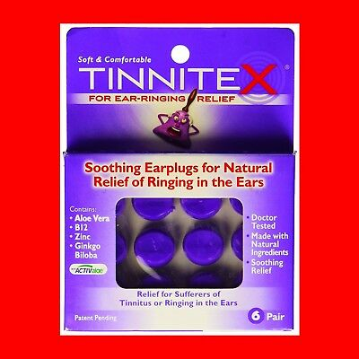 Tinnitex Earplugs Natural lipo vibes Tinnitus Relief Ringing in the Ears 6 Pair