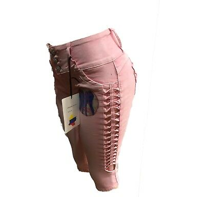 NEw Tush Push  colombian pink side rip levanta cola high waist capris shorts