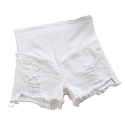 Women Maternity Waistband Care Casual Jeans Shorts Denim Over Bump Ripped White