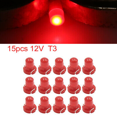 15pcs 12V Red T3 Car Wedge LED Dash Gauge Instrument Panel Light Bulb Interior