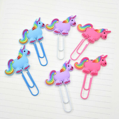 2x Cartoon PVC Animal Unicorn Bookmarks Paper Note Clip Book Mark Office School