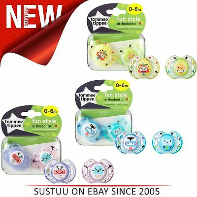 Tommee Tippee Closer to Nature Fun Air Soother 0-6m 2Pk│Dummy│Colours Assorted