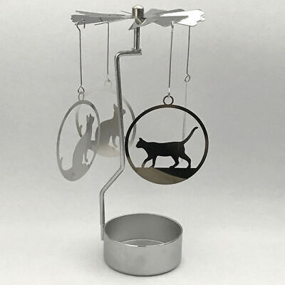 New Metal Cat Tea Light Powered Holder Spinning Candle Decoration Spin33