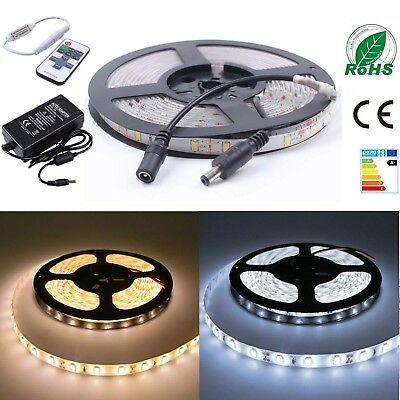 5630 3528 SMD LED Strip Lights Kit Waterproof Flexible Adapter Controller 1/3/5m