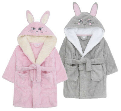 Girls Soft & Cosy 3D Animal Bunny Unicorn Novelty Dressing Gown Robe