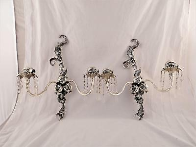 Pair Of Vintage 2 Candle Holder Candelabra Silver Tone With Prisms Wall Sconce