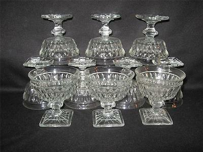Vintage Clear Glass Pedestal Sherberts With Square Bases - Ten