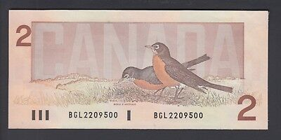 1986 $2 Dollars UNC - Thiessen Crow - Prefix BGL - Bank of Canada - D657
