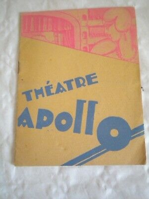 Frank Vintage Programme Theatre Apollo Nantes 1929 Entertainment Memorabilia