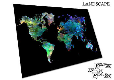 Black Watercolour Map of the World Europe Asia America Poster Print X1264
