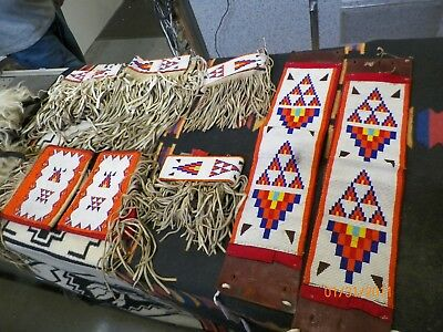 BEAUTIFUL SET! BEADED SIOUX Cuffs,Arm Bands Waist and Legs! Bells, Pants Outfit!