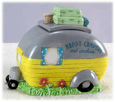 """Ceramic Camper Camping Cookie Jar Canister Kitchen RV Home 8.5"""" H NEW Y14314"""