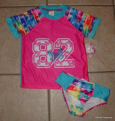 NEW NWT Girls 4T / 4 Toddler Butterfly Print Shirt & Bottoms 2 Pc Swimsuit Set
