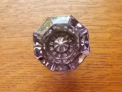Antique Vintage Petite Glass & Brass Amethyst Purple Doorknob - Rare