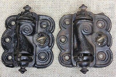 2 vintage Screen Door Hinges brass quick release old self closing vintage paint
