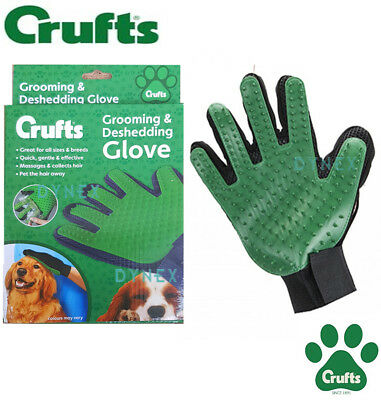 Pet Dog Cat True Touch Deshedding Brush Glove Gentle Efficient Massage Grooming