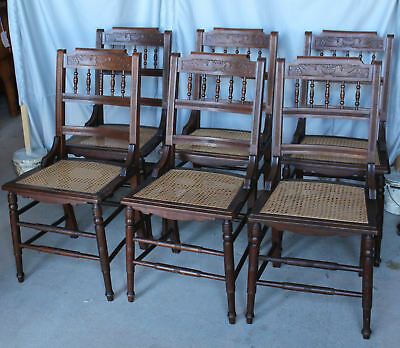 Antique Victorian Set of Six Matching Walnut Dining Chairs - Cane Seats