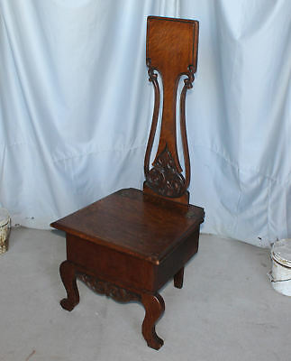 Antique Victorian Oak Hall Chair – with hinged seat