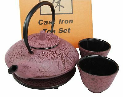 "Japanese Raspberry Bamboo Heavy Cast Iron Tea Pot Set w/ Trivet & Cups -""RIKYU"""