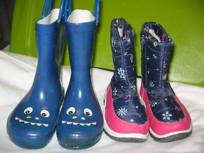 """Girls Size 9, """"2"""" Pair Of Rain And Snow Boots, Mountain Warehouse, New & Euc"""