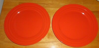 RACHEL RAY RED Double Ridge Dinner Plates 11\