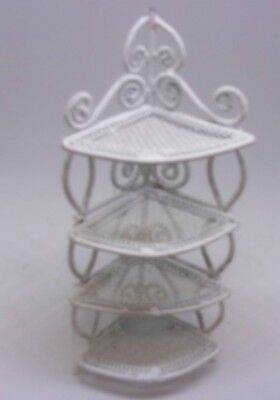 Miniature Dollhouse Vintage White Wicker Metal Corner SHELF 5 INCH TALL 4 TIER