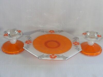 3 Pc Art Deco Console Candlestick Set Indiana Glass ~ MODERNE CLASSIC ~