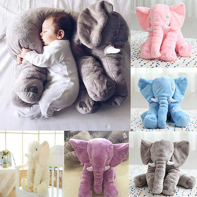 Cute Kids Baby Long Nose Elephant Doll Soft Pillow Lumbar Plush Stuff Toy Gift